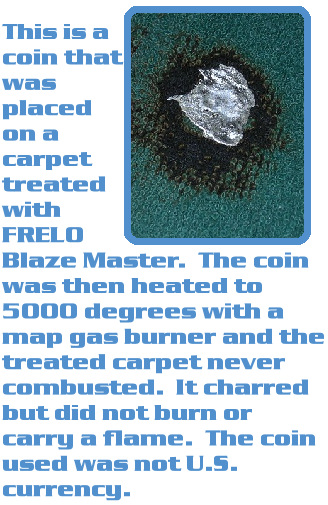 Blaze Master protected this carpet when it was heated to 5000 degrees